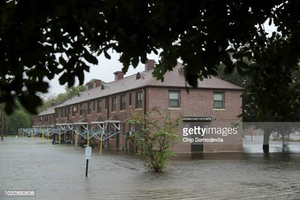 The Trent Court public housing apartments are flooded after the Neuse River topped its banks during Hurricane Florence September 13 2018 in New Bern...