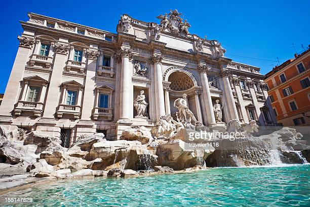 the trevi fountain in rome, italy - trevi fountain stock photos and pictures