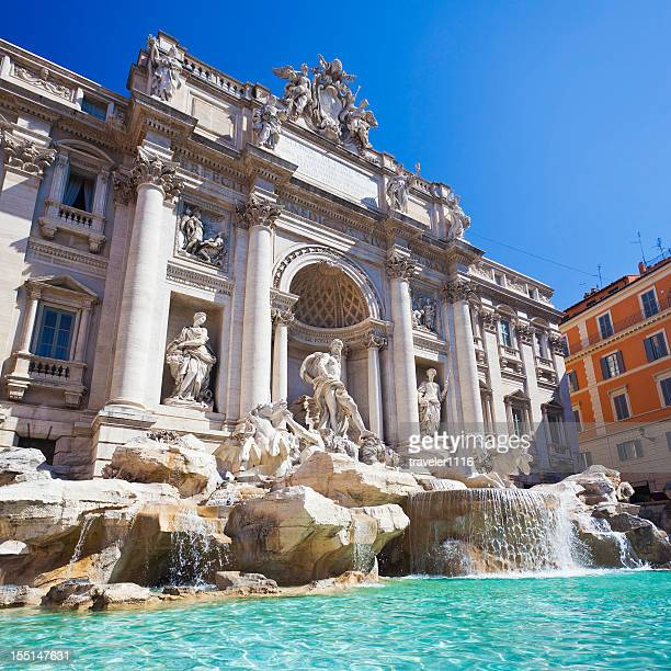 the trevi fountain in rome, italy - trevi fountain stock pictures, royalty-free photos & images