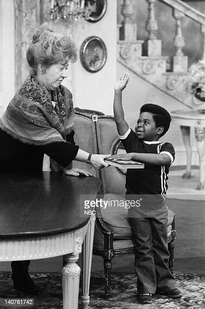 RENT STROKES 'The Trial' Episode 7 Pictured Charlotte Rae as Edna Garrett Gary Coleman as Arnold Jackson Photo by NBC/NBCU Photo Bank