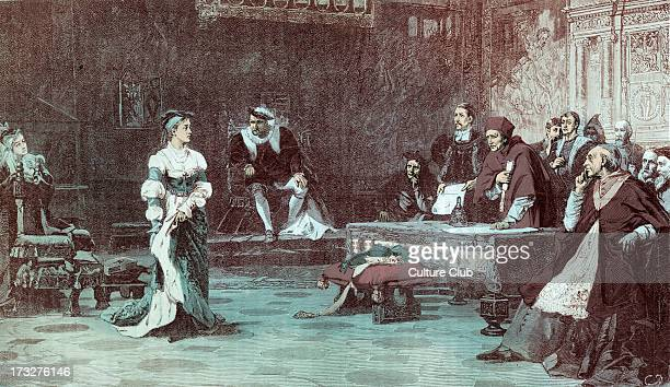 The Trial of Catherine after painting by Laslett J Pott Catherine of Aragon first wife of Henry VIII testifying at the Legatine Court at which she...