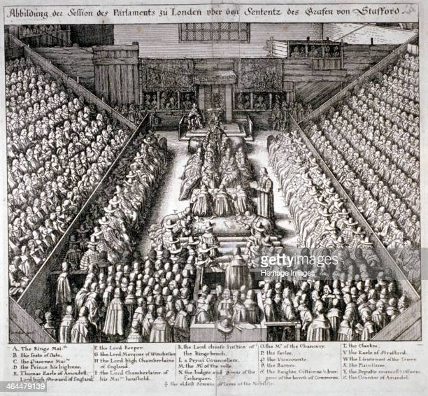 The Trial of Thomas Wentworth, Earl of Strafford, Westminster Hall, London, 1641. Having been impeached by Parliament, Strafford was found guilty of...