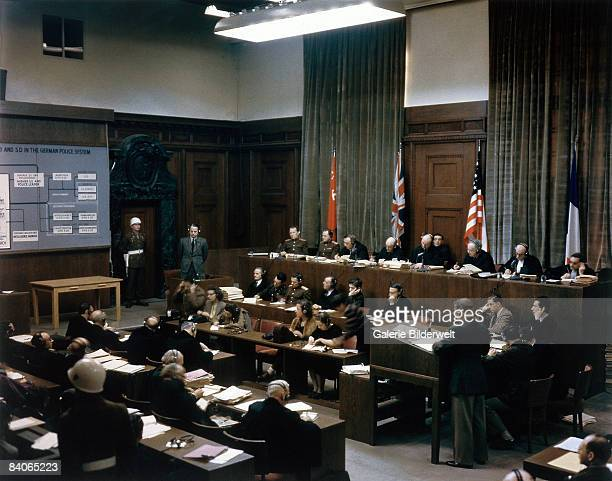 The trial takes place of SS and Sicherheitsdienst leader Ernst Kaltenbrunner in Room 600 at the Palace of Justice during the International Military...