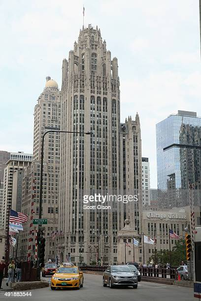 The Tribune Tower home of the Chicago Tribune sits along Michigan Avenue at the Chicago River on October 8 2015 in Chicago Illinois Tribune Media is...