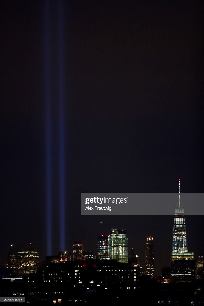 The 'Tribute in Light' commemorating the anniversary of the September 11 terrorist attacks is seen from the game between the New York Yankees and Tampa Bay Rays at Citi Field on Monday, September 11, 2017 in the Queens borough of New York City.