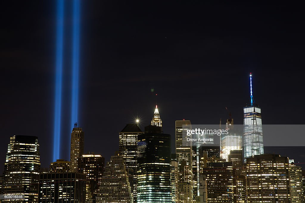 The 'Tribute in Light' illumiinates the skyline of Lower Manhattan as seen from the Brooklyn Heights Promenade, September 11, 2016 in New York City. Throughout the country services are being held to remember the 2,977 people who were killed in New York, at the Pentagon and in a field in rural Pennsylvania.