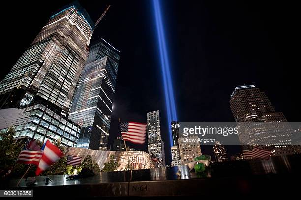 The Tribute in Light illuminates the night sky as viewed from the National September 11th Memorial September 11 2016 in New York City Throughout the...