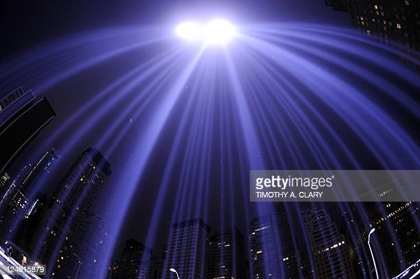 """The """"Tribute in Light"""" illuminates the sky in New York September 11 2011 on the 10th anniversary of the 9/11 attacks The tribute an art installation..."""