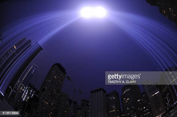 The Tribute in Light illuminates the sky in New York September 11 2011 on the 10th anniversary of the 9/11 attacks The tribute an art installation of...