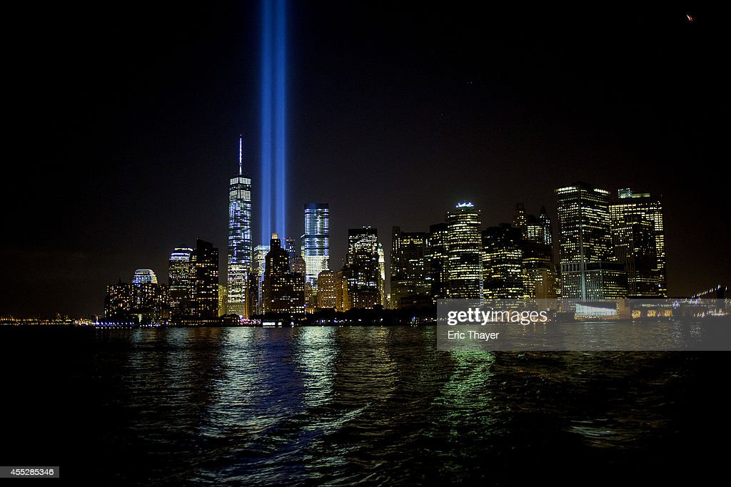 The 'Tribute in Light' is seen September 11, 2014 in New York. This year marks the 13th anniversary of the September 11th terrorist attacks that killed nearly 3,000 people at the World Trade Center, Pentagon and on Flight 93.