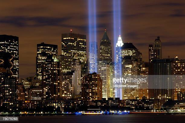 the tribute in light memorial is in remembrance of the events of september 11, 2001. - world trade center memorial stock pictures, royalty-free photos & images