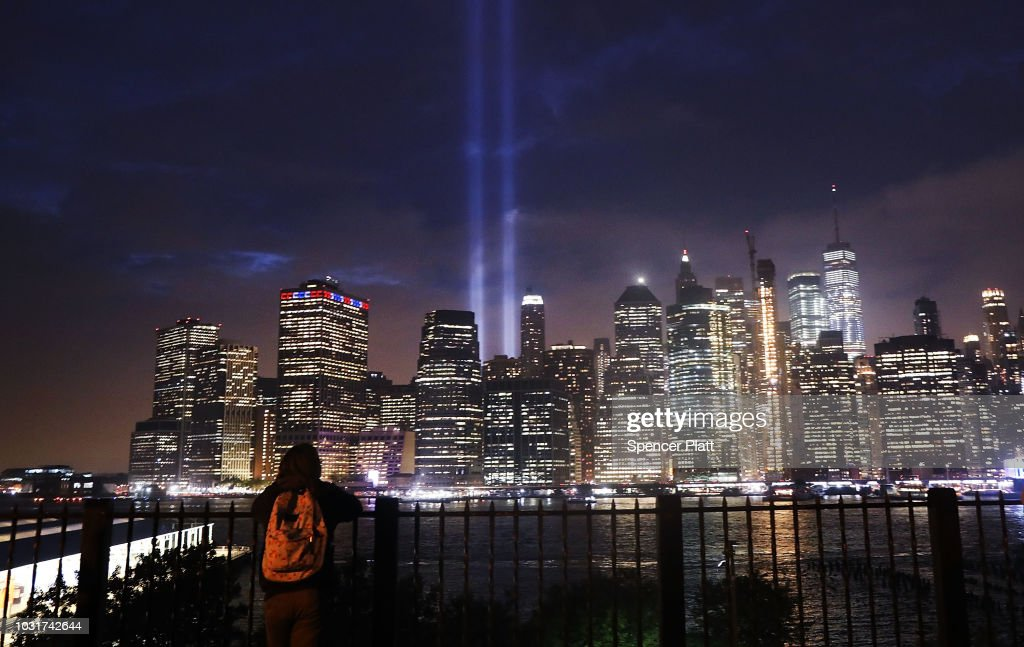 Annual Tribute In Light Marks Anniversary Of Attacks On The World Trade Center's Twin Towers : Nyhetsfoto