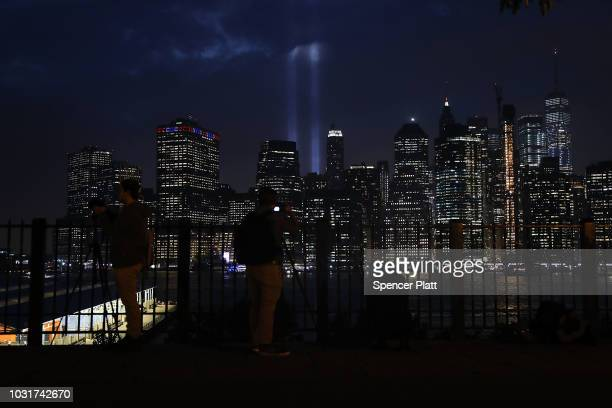 The 'Tribute in Light' memorial lights up lower Manhattan near One World Trade Center on September 11 2018 in New York City The tribute at the site...