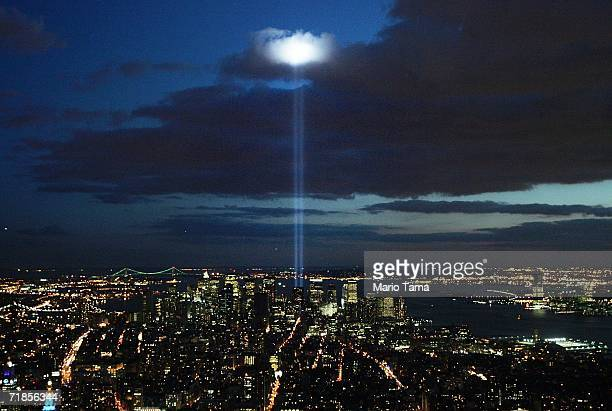 The Tribute in Light near the World Trade Center site is seen from the Empire State Building September 11, 2006 in New York City. Today is the fifth...