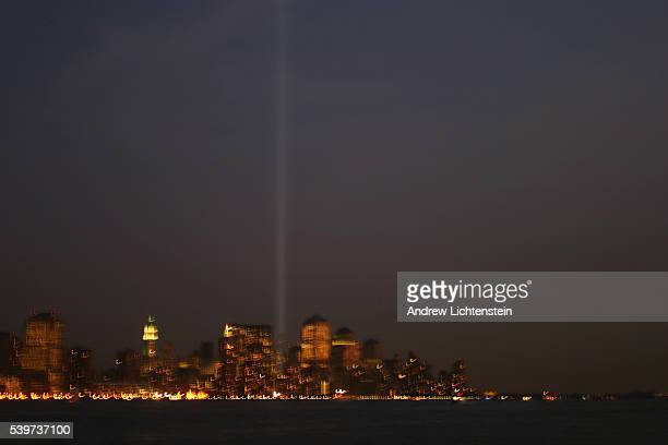 The Tribute in Light representing the World Trade Center towers returned for the second anniversary of the terrorist attacks