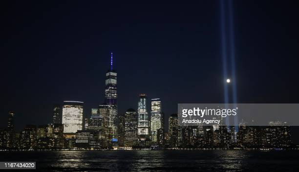 The 'Tribute in Light' rises skyward on the 18th anniversary of the 9/11 terrorist attacks September 11 2019 in New York City