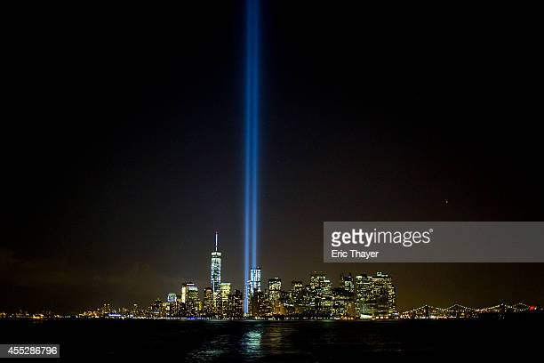 The Tribute in Light shines on September 11 2014 in New York City This year marks the 13th anniversary of the September 11th terrorist attacks that...