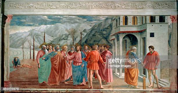 'The Tribute Money' 1425 In an attempt to entrap Jesus the Pharisees sent men to ask if it was right for Jews to pay taxes to the Romans He looked at...