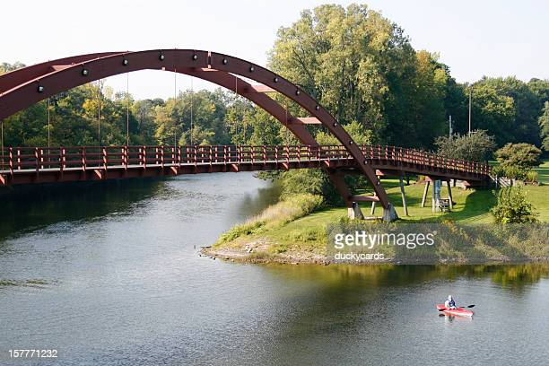 the tridge and kayaker - midland stock pictures, royalty-free photos & images
