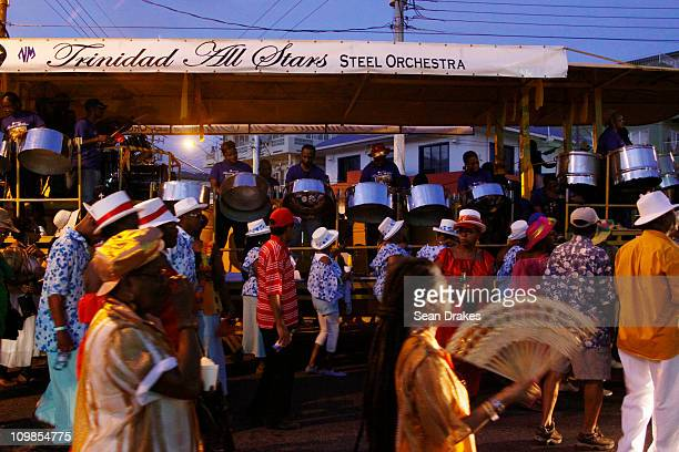 The Trinidad All Stars Steel Orchestra performs at Carnival on March 7 2011 in Port of Spain Trinidad