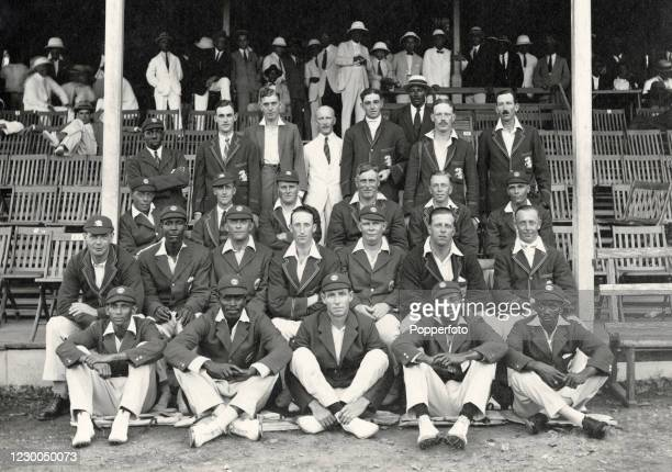 The Trinidad and MCC England cricket teams prior to their match at Queen's Park Oval in Port of Spain, Trinidad on 26th January 1926. The match was...