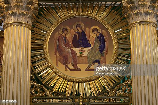 the trinity cathedral. the iconostasis. - holy trinity stock pictures, royalty-free photos & images