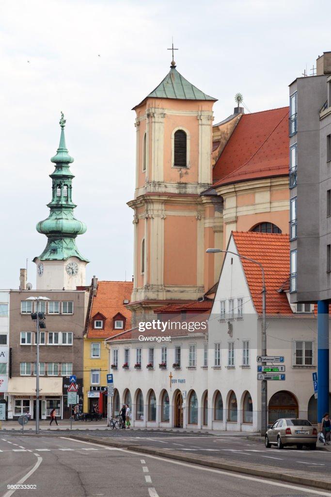 The Trinity Church and Michael's Gate in Bratislava : Stock Photo