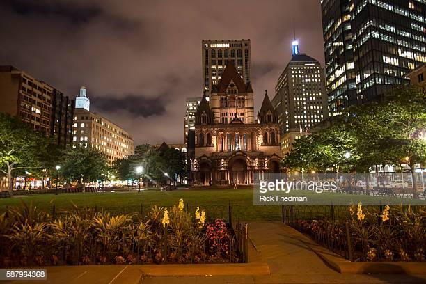 The Trinity Church in Copley Square the site of the Boston Marathon bombing in Boston MA on July 1 2013