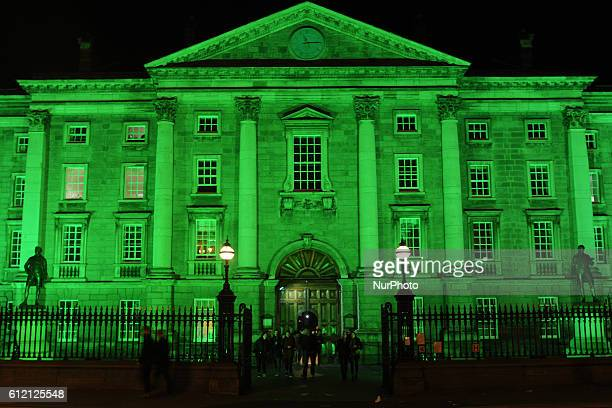 The Trinity College building in Dublin goes green for St Patrick's Day Dublin Ireland on Wednesday 16 March 2016