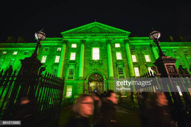 The Trinity College in Dublin goes green on the eve of St Patrick's Day On Thursday March 16 in Dublin Ireland