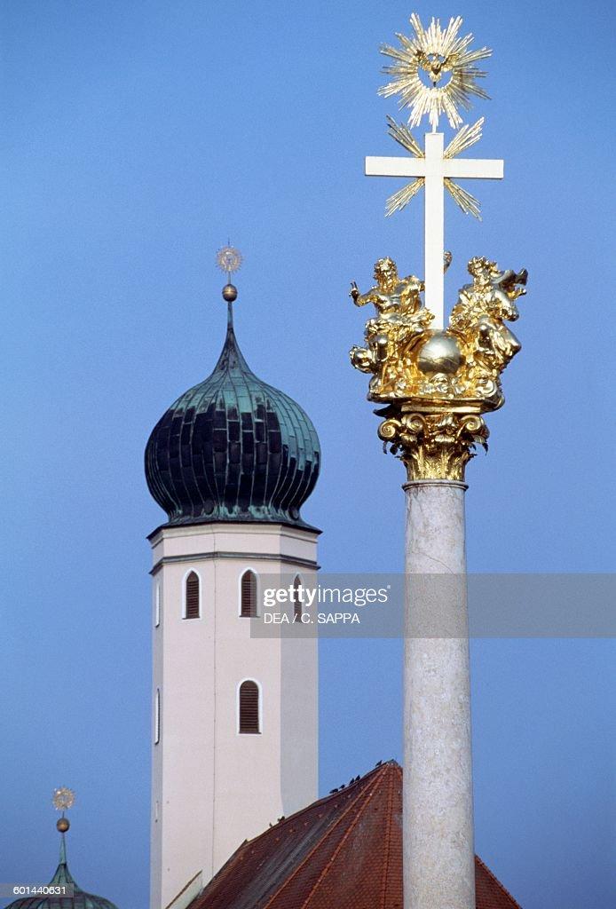 The Trinity Column, Straubing, Bavaria : News Photo