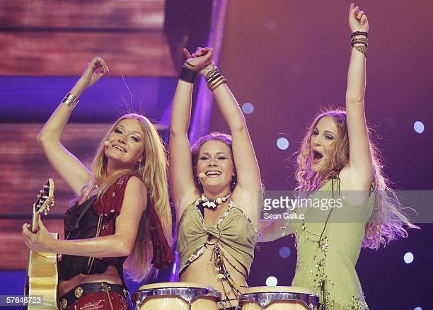 The trio Treble from the Netherlands perform at the dress rehearsal prior to the semifinals of the 2006 Eurovision Song Contest May 18 2006 in Athens...