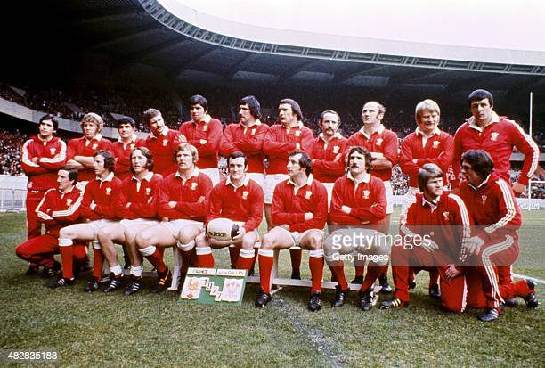 The triple crown winning Wales squad pictured before the Five nations match between France and Wales at Parc de Princes on February 5 1977 in Paris...