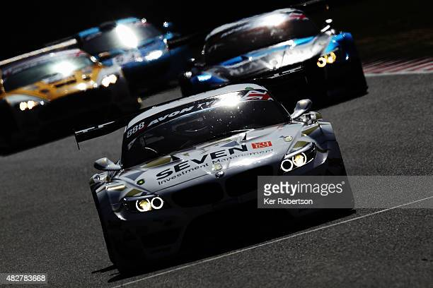 The Triple Eight Racing BMW Z4 of Lee Mowle and Joe Osborne drives during the British GT Championship race at Brands Hatch on August 2 2015 in...
