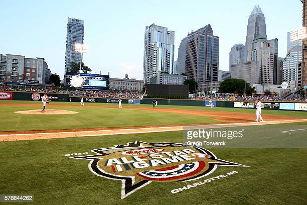 The TripleA All Star logo is photographed during the Sonic Automotive TripleA Baseball All Star Game at BBT Ballpark on July 13 2016 in Charlotte...