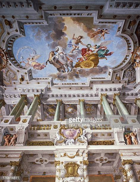The triumph of Alexander the Great fresco by Angiolo Michele Colonna and Agostino Mitelli ceiling of the Audience Hall of Palazzo Pitti Florence...