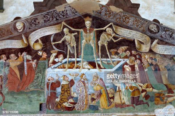 The triumph of death, 1484-1485, fresco by Giacomo Borlone, facade of the Disciplines Oratory, Clusone, Lombardy, Italy, 15th century.