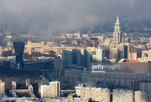 The Triumph Palace residential apartment building right stands viewed from the OKO Tower at the Moscow International Business Center also known as...
