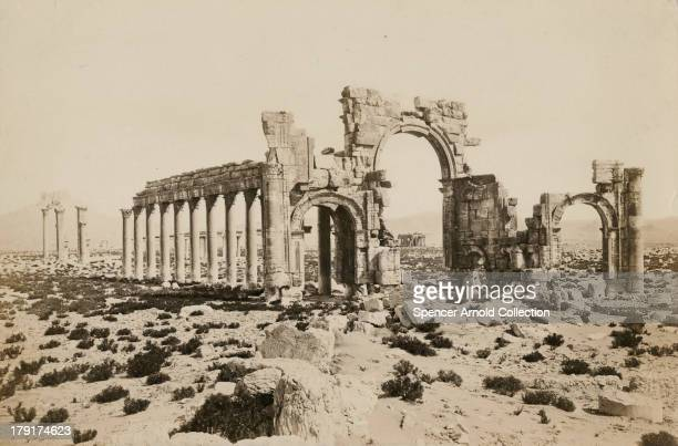 The triumphal arch in the ancient city of Palmyra in Syria circa 1880