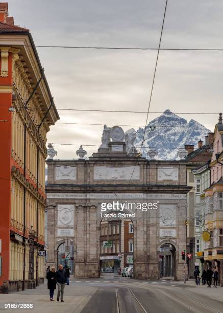 The Triumphal Arch is seen from the MariaTheresienStraße on January 26 2018 in Innsbruck Austria