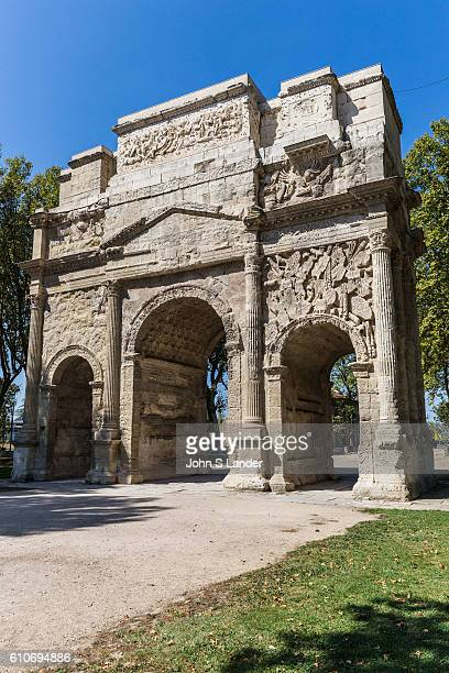The Triumphal Arch of Orange is characteristic of Roman architecture in Provence with decorative figures sculpted into the limestone. The arch is one...