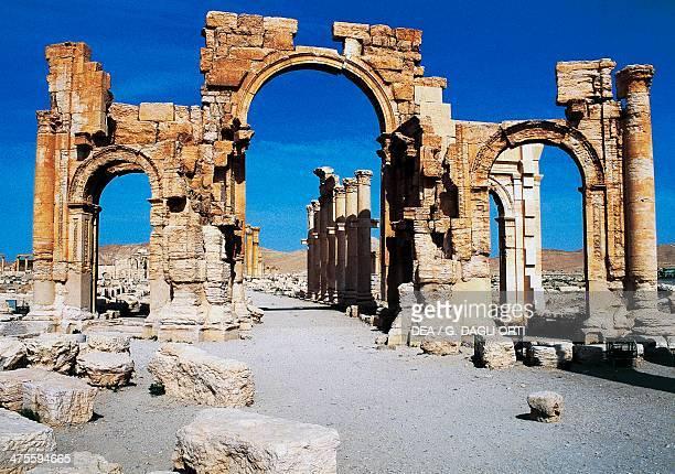 The triumphal arch of Septimius Severus, Palmyra , Syria. Roman civilisation, 1st-2nd century AD.