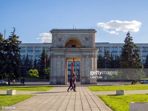 The Triumphal arch opposite the Government House in central Chisina, the capital of Moldova.