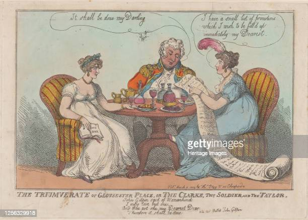 The Triumverate [sic] of Gloucester Place, or The Clarke, The Soldier, and The Taylor, 1809. Artist Thomas Rowlandson.