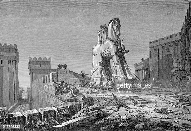 'The Trojan Horse' Engraving after a painting by Henri Motte in the Corcoran Gallery Washington Illustration shows soldiers emerging from the giant...