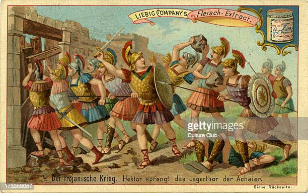 Hector breaks through the main gate of the Achaeans from engraving published 1892 Liebig Company collectible card series The Trojan War Card no 4