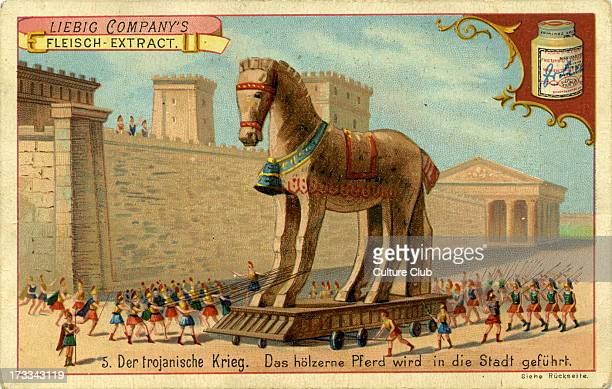 The Wooden Horse is led into the town from engraving published 1892 The Trojans bring the wooden horse into Troy unaware that Greek soldiers are...