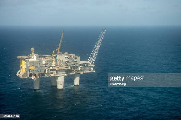 The Troll A natural gas platform operated by Equinor ASA stands in the North Sea Norway on Wednesday May 16 2018 Statoil has changed its name...