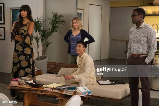 PLACE 'The Trolley Problem' Episode 206 Pictured Jameela Jamil as Tehani Kristen Bell as Eleanor Manny Jacinto as Jianyu William Jackson Harper as...
