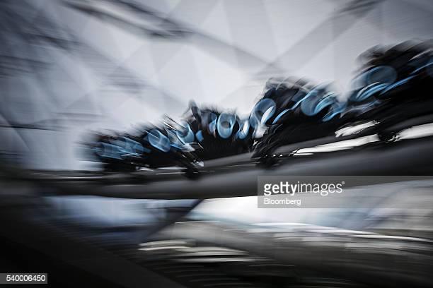 The Tron Lightcyle Power Run rollercoaster train travels on a track at Walt Disney Co's Shanghai Disneyland theme park during a trial run ahead of...
